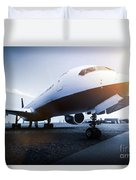 Passenger Airplane On The Airport Parking Duvet Cover