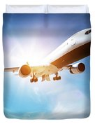 Passenger Airplane Taking Off, Sunny Blue Sky. Duvet Cover