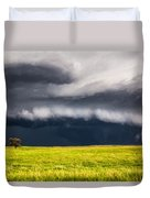 Passing By - Storm Passes By Lone Tree In Western Nebraska Duvet Cover