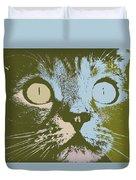 Pastel Cat Pop Art Duvet Cover by Shelli Fitzpatrick