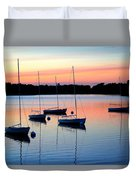 Pastel Lake And Boats Simphony Duvet Cover