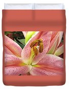 Pastel Pink Lily Duvet Cover