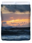Pastel Sunset Over Stormy Waves Duvet Cover