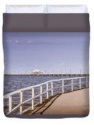 Pastel Tone Sea Pier Landscape Duvet Cover