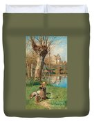 Pastoral Scene On The Bank Of The Loing Duvet Cover