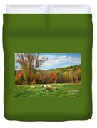 Pasture - New England Fall Landscape Sheep Duvet Cover
