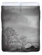 Pasture Field And Barn Duvet Cover