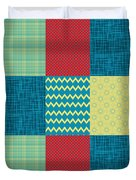 Patchwork Patterns - Muted Primary Duvet Cover