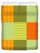 Patchwork Patterns - Orange And Olive Duvet Cover