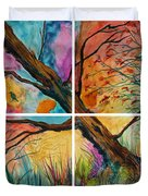 Patchwork Sky Tree Painting With Colorful Sky Duvet Cover