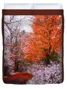 Path In Fall With Early Snowfall Duvet Cover