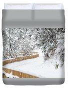 Path In Snow Duvet Cover