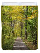 Path In The Woods During Fall Leaf Season Duvet Cover