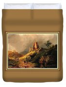 Path Next To The Ruins Of Belloque Castle L B With Decorative Ornate Printed Frame. Duvet Cover