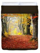 Path Of Red Leaves Towards Light In Fall Forest Duvet Cover