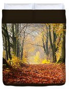 Path Of Red Leaves Towards Light Duvet Cover