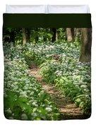 Path Through A Deciduous Forest, Wild Garlic Duvet Cover