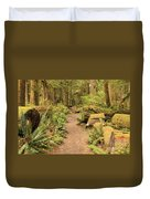 Path Through Mossy Forest Duvet Cover