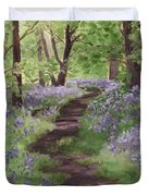 Path Through The Bluebells Duvet Cover by Brandy Woods