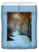 Path Through The Woods In Winter At Sunset Duvet Cover by Jill Battaglia