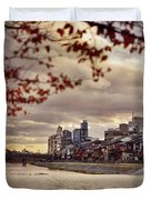 Pathway Along Kamo River In A Beautiful Dramatic Autumn Sunset S Duvet Cover