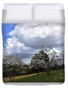 Pathway Along The Dogwood Trees Duvet Cover