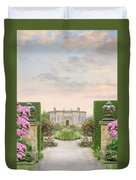 Pathway Leading To A Mansion Through Beautiful Gardens Duvet Cover