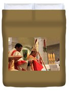 Patriarch Fouad Twal At Christmas Mass Duvet Cover
