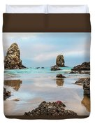 Patrick And Friends Visit Cannon Beach Duvet Cover
