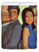 Patrick Macnee And Diana Rigg, The Avengers Duvet Cover