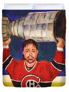 Patrick Roy Wins The Stanley Cup Duvet Cover