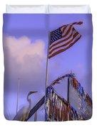 Patriotic Egret Duvet Cover