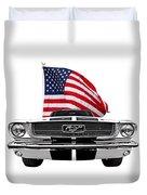 Patriotic Mustang On White Duvet Cover