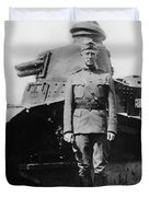 Patton Beside A Renault Tank - Wwi Duvet Cover