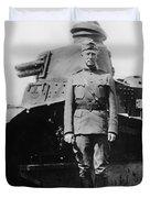 Patton Beside A Renault Tank - Wwi Duvet Cover