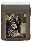 Paul Fischer, 1860-1934, Flower Market In Copenhagen Duvet Cover