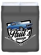 Pauls Garage Camaro Duvet Cover