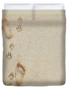Paw And Footprints 2 Duvet Cover
