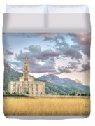 Payson Utah Lds Temple, Sunset View Of The Mountains And Grass Duvet Cover