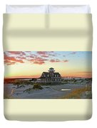 Oregon Inlet Life Saving Station 2687 Pano Signed Duvet Cover