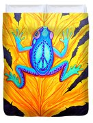 Peace Frog On Fall Leaf Duvet Cover