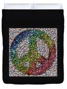 Peace Sign Bottle Cap Mosaic Duvet Cover