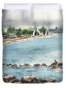 Peaceful Morning At The Harbor  Duvet Cover