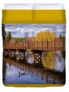 Peaceful Reflections At Drake Park Duvet Cover