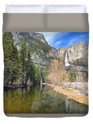 Peaceful Winter River Through Yosemite Valley Duvet Cover