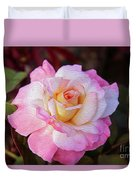 Peach And White Rose Duvet Cover