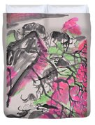 Peach Blossom And Water Buffalo Duvet Cover