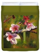 Peach Blossom Time Duvet Cover