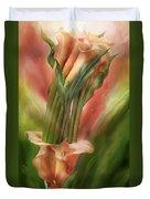 Peach Calla Lilies In Calla Vase Duvet Cover