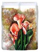 Peach Callas Duvet Cover